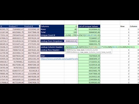 Excel Magic Trick 1426: Lookup Row & Column Headers From 2-Way Lookup Table with Unique Values