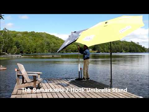 J Hook Portable Umbrella Stand for Decks & Docks Will Never Blow Over