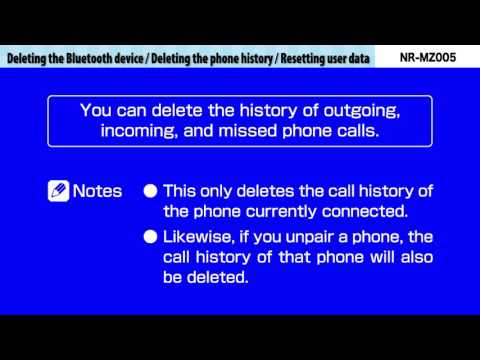 E10-Deleting the Bluetooth device/Deleting the phone history/Resetting user data