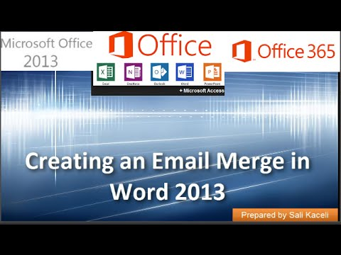 Email Merge with Outlook Word and Excel (2007/2010/2013/2016)