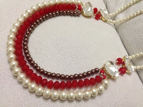 How to make necklace | DIY beaded  necklace |  pearl jewelry | Beads art