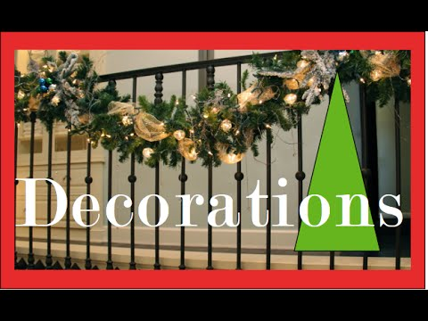 Garlands on the Staircase and Banister - Christmas Decorating and Decorations