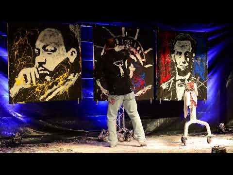 Tom Varano speed painting an inspirational performance