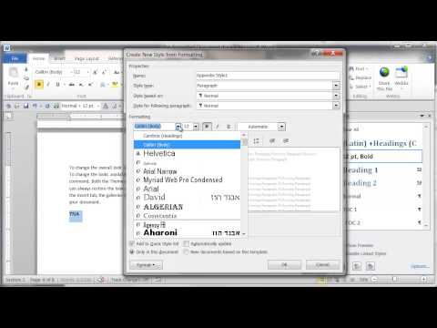 Word 2010 - How to create a style for an appendix