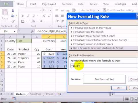 Conditional Formatting Currency Symbols in Excel 2010