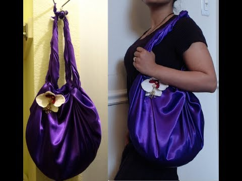 DIY Fashion : No Sew  Shoulder Bag in 2 minutes ( Just 1 yard of fabric)