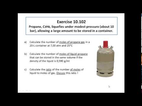 Calculating the number of moles in gaseous and liquid propane (10.102)
