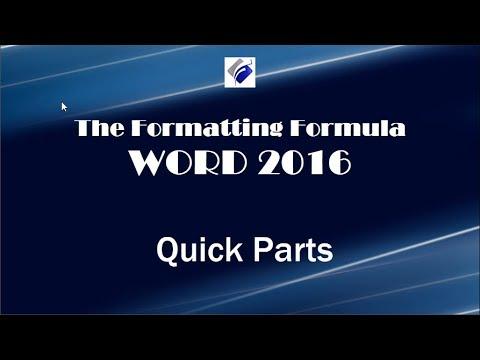 Word 2016  Quick Parts