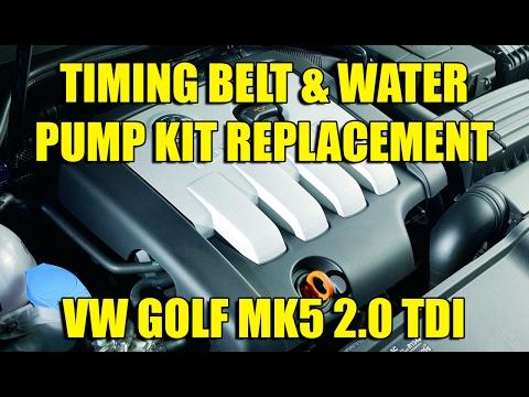 Timing belt & water pump kit replacement VW Golf Mk5, Jetta 2.0 TDI