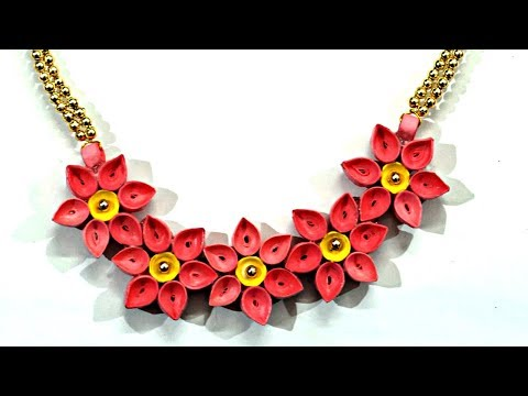 DIY Quilled Paper Necklace | Easy Paper Quilling Jewelry Tutorial | Handmade Flower Jewelry