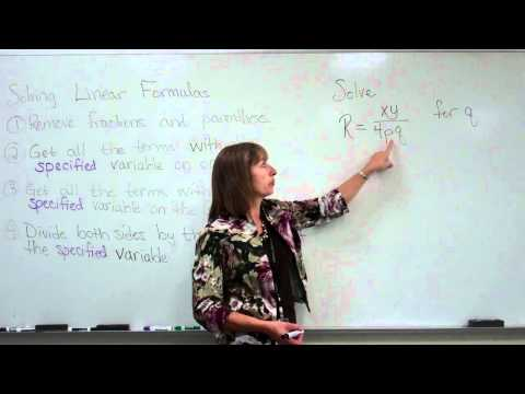 Solving A Linear Literal Equation, example 1