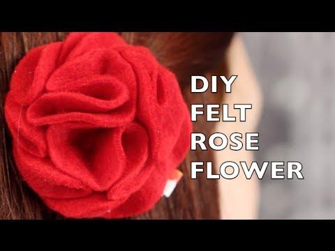 How To Make A Felt Rose Hair Flower