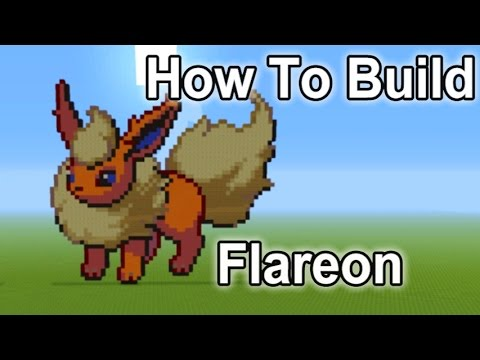 Minecraft Pixel Art Tutorial - How To Build Flareon (Pokemon)
