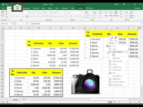 Add Camera to Take a Picture of Excel Data Text (Excel to Image)