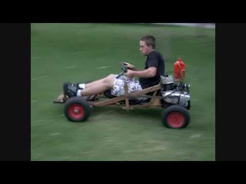 A real homemade go kart made of wood with a 100 cc 2 strokes engine