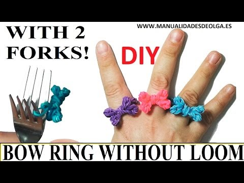 How to make a bow Ring (EASY) with 2 forks.  rainbow loom bands. rubber bands flower ring