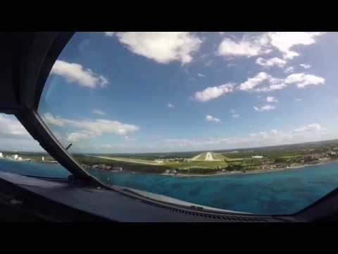 Approach over Playa del Carmen and landing in Cozumel. Pilot's view.