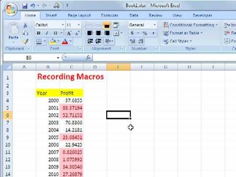 Recording Macros in Excel