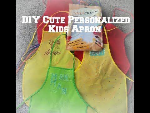 how make a  personalized painted apron for children/ DIY  Cute Personalized Kids Apron