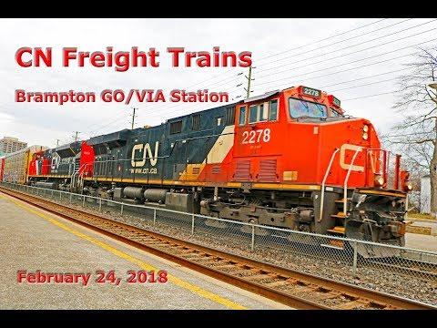 CN Freight Trains at Brampton, Ontario GO/VIA Station (Feb. 24, 2018)