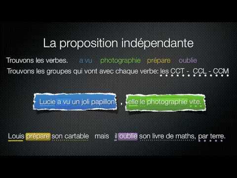 les propositions indépendantes, principales et subordonnées