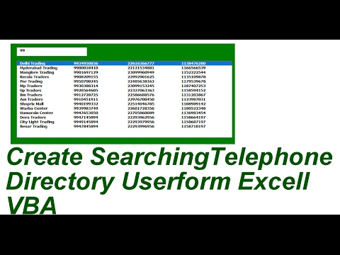 Create Searchable Telephone Directory Excell VBA