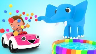 Learn Colors for Children with Baby Elephant Balls Shower Animals 3D Kids Learning Educational Video