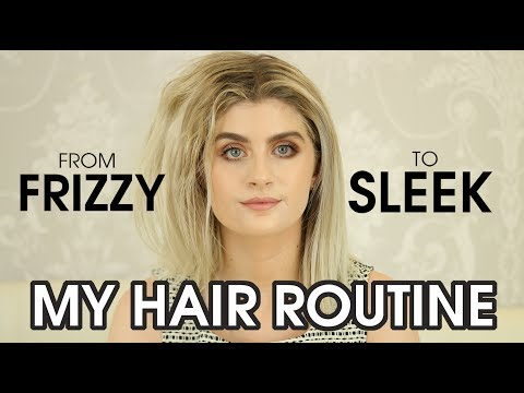 CURLY + WAVY BLOW DRYING HAIR ROUTINE: How To Go From Frizzy To Sleek Straight Hair | Raquel Mendes