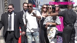 Jamie Foxx Leaves Girlfriend Katie Holmes & Takes Daughter Corinne To Jimmy Kimmel Live! 6.14.17