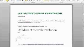 How To Reference An Online Newspaper Article