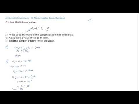 IB Math Studies Arithmetic Sequences Exam Question 1