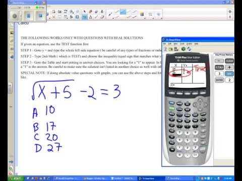 Using graphing calculator to solve equations and absolute value on multiple-choice SOL questions