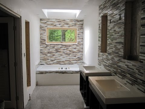 Master Bathroom with Glass tile and ceramic tile