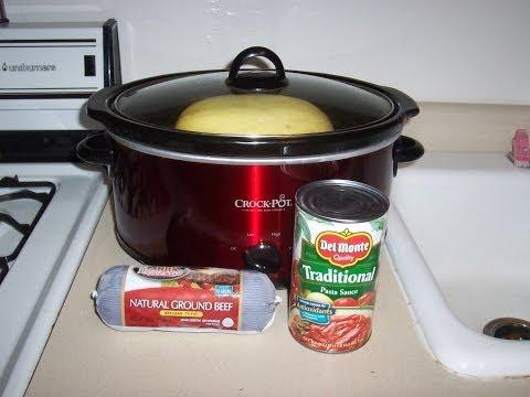 Crock-Pot Recipe:Spaghetti Squash Cooked and Made into Spaghetti