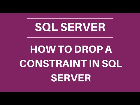 How to drop a constraint SQL server