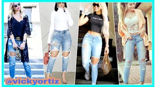 Como Combinar Jeans Rasgados Mujer Tendencias Jeans 2018