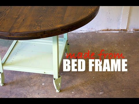 Reclaimed Steel Bed Frame and Barn Wood Table