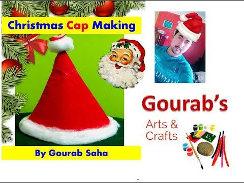 How to make a Santa Claus Hat : Christmas crafts for the whole family | Paper Christmas Cap Making