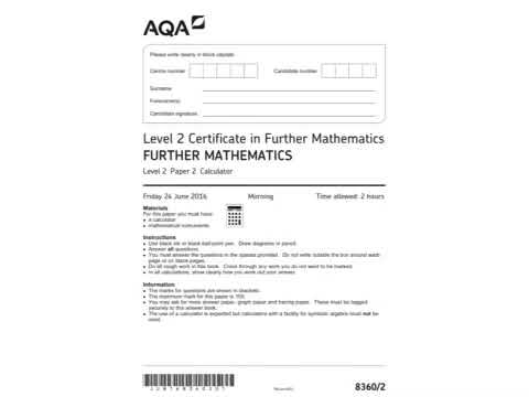 AQA Further Maths GCSE 2016 Paper 2 - Title Page