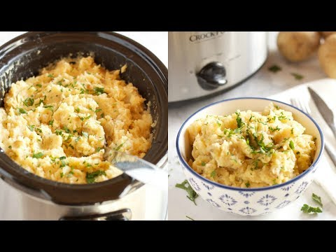 Slow Cooker Rustic Garlic Mashed Potatoes Recipe