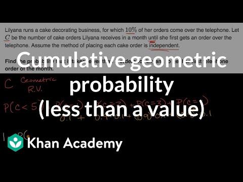 Cumulative geometric probability (less than a value)