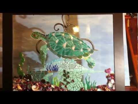 Turtle Mosaic glass tile art progress by LissdexiArt