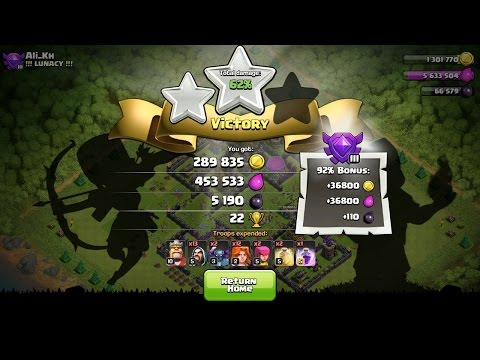 Clash Of Clans TH8 Trophy Pushing Strategy With Valkyrie...Insane Dark Elixir Loot 5000+...