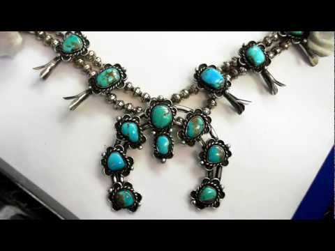 Vintage American Indian Necklace (Circa 1950) - Sterling & Turquoise