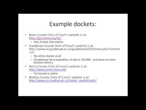 Online Legal Research: Part 4 of 9: Court Dockets