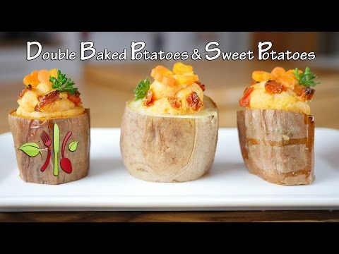 Double Baked Potatoes & Sweet Potatoes (Vegan, Refined Oil Free, Thanksgiving, Christmas)