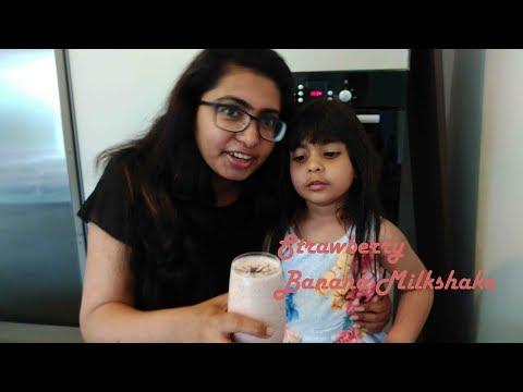 Strawberry Banana Milkshake in 5 min - Easy Recipe