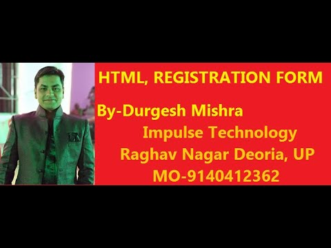 HTML Lecture 12 in Hindi Registration Form