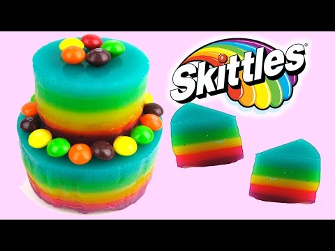 Rainbow Jello Skittles Cake! How to Make a Gummy Jelly Soda Bottle like a Cake!