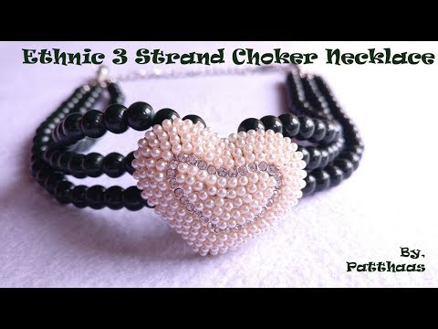 How to make ethnic 3 strand choker necklace at home | jaipuri beads  | Easy | Patthaas by Shiney